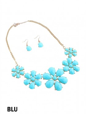 FLORAL STATEMENT NECKLACE AND EARRING SET