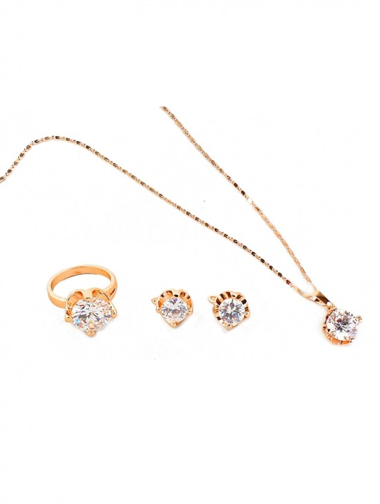 GOLD NECKLACE WITH EARRINGS AND RING