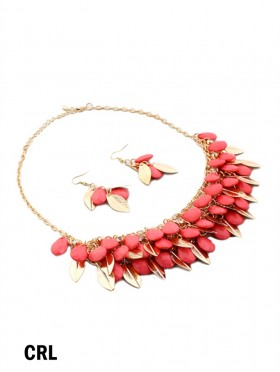TWO TONE BEAD AND LEAF DESIGN NECKLACE WITH EARRING SET