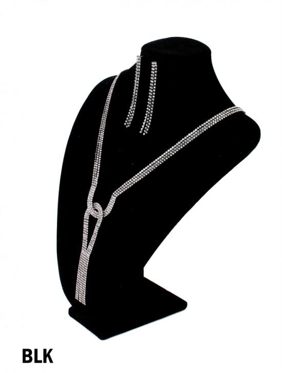 Rhinestone Tassels Necklacce & Earring Set