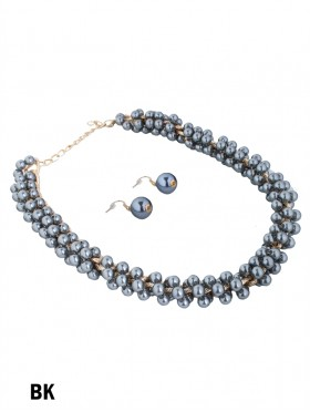 PEARL CHAIN NECKLACE & EARRING SET