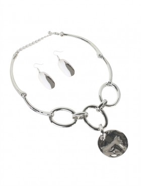 Circled Statement Necklace W/ Earring Set
