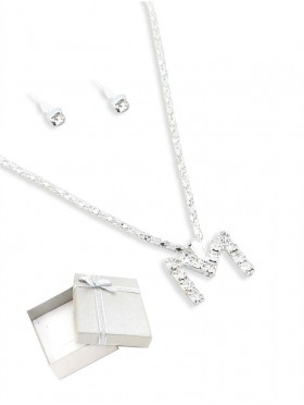 INITIAL RHINESTONE NECKLACE AND EARRING SET