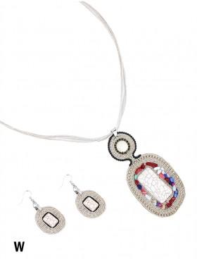 Gem Pendant Rope Necklace W/ Earring Set