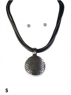 Multi-Rope Solid Circle Pendant Necklace & Earring Set