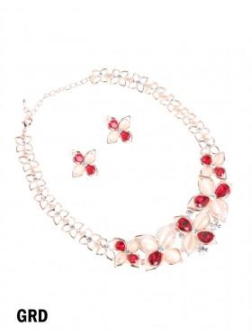 Rhinestone & Gems Flower Necklace with Earring Set
