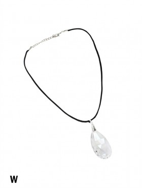 Rope Necklace W/ Teardrop Rhinestone Charms