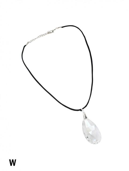 Rope Necklace W/ Teardrop Rhinestone Charms