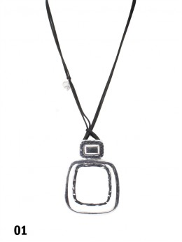 Rope Necklace W/ Abstract Squares Pendant