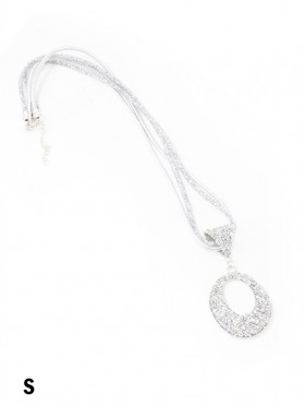 Sparkle Tube Necklace & Circle Pendant
