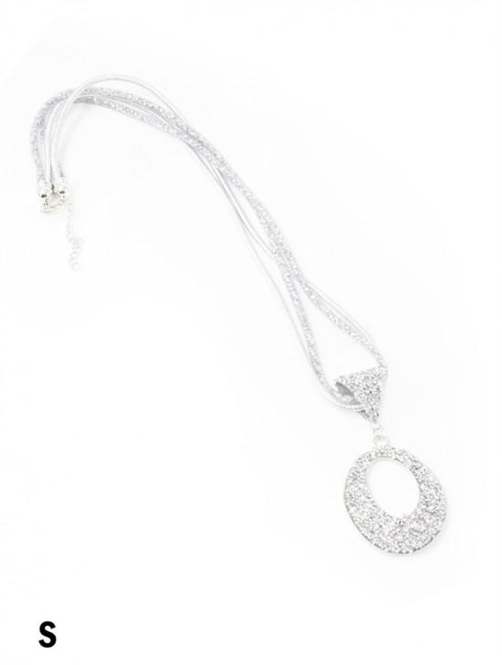 Sparkle Tube Necklace & Circle Pendant
