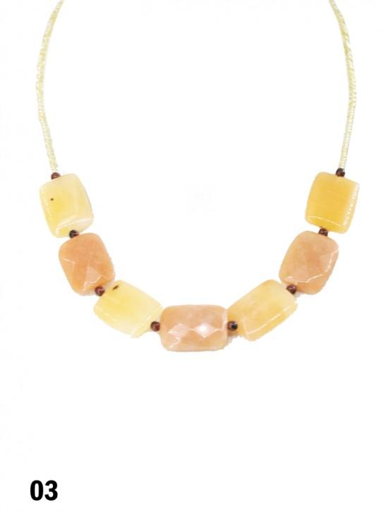 Yellow Stone Strand Beaded Necklace