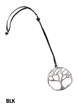 Rope Necklace W/ Silver Tree Pendant