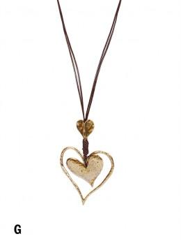 Rope Necklace W/ Double Heart & Knots Pendant
