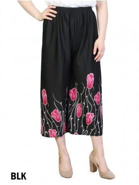 Pleated Ankle-Length Rose Hem Pants