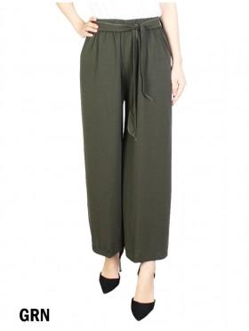 Solid Color Wide-Leg Cropped Pants W/ Waist Strap