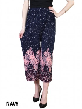 Pleated Ankle-Length Abstract Floral Print Pants