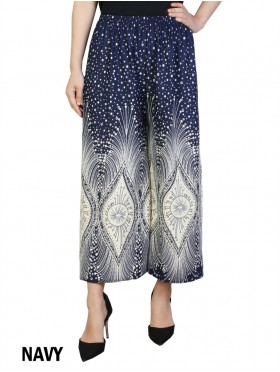 Pleated Ankle-Length Abstract Feathered Print Pants
