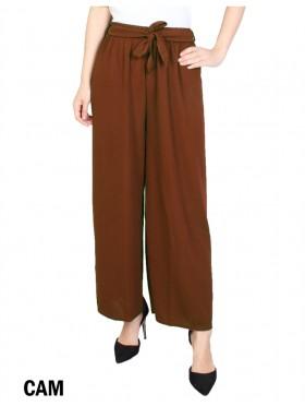 Solid Color Wide-Leg Cropped  Pants W/ Tie Belt