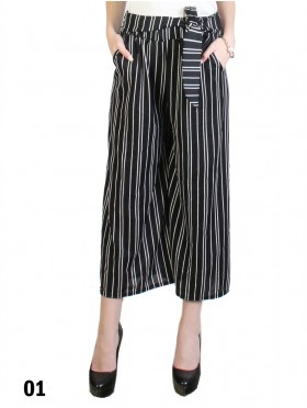 Wide-Leg Cropped Pants W/ Tie Belt