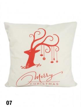 Reindeer Merry Christmas Print Cushion W/ Filler