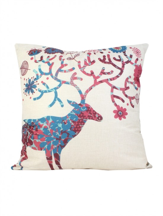 Deer Print Cushion & Filler (Dou-Sided)