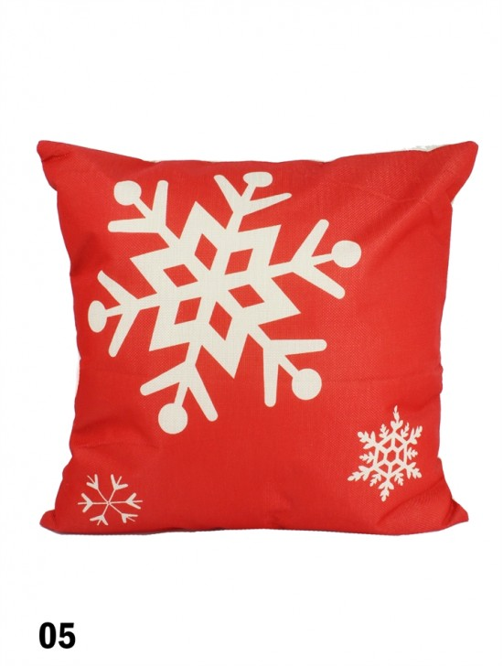 Snow Flakes Print Cushion W/ Filler