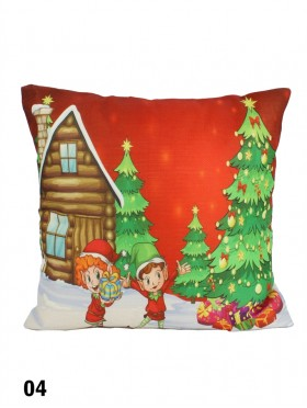 Christmas Happy Elves Print Cushion W/ Filler