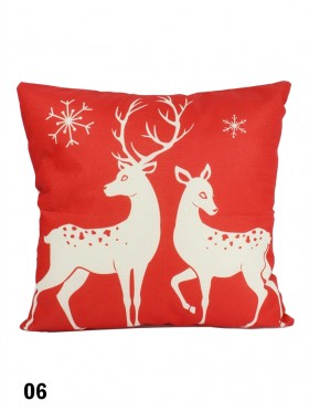 Reindeer in Love Print Cushion W/ Filler