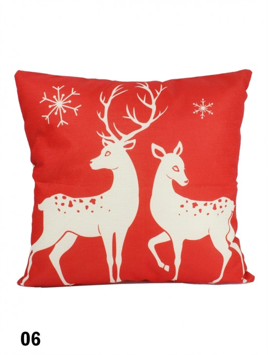 Reindeer in Love Print Cushion W/ Filler