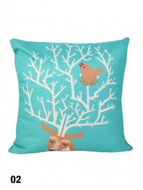 Deer Head Print Cushion & Filler (Dou-Sided)