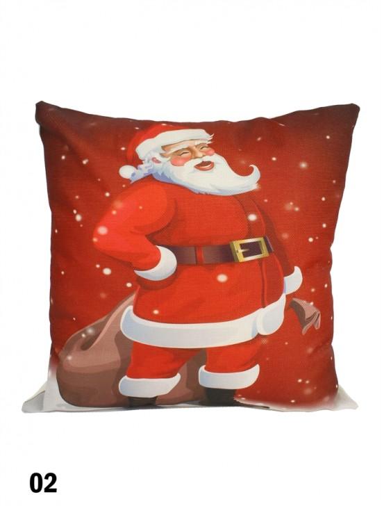 Santa Claus Print Cushion W/ Filler