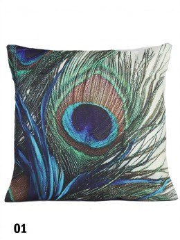Peacock Feather Print Cushion & Filler