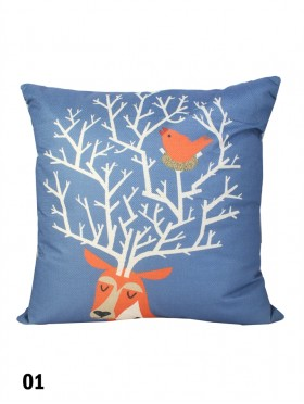 Deer Head Print Cushion & Filler (Dou-Sided)