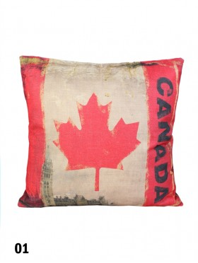 Double-sided Canadian Flag Print Cushion & Filler