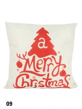 Merry Christmas Print Cushion W/ Filler