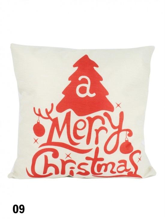 Merry Christmas Print Cushion W/ Filler