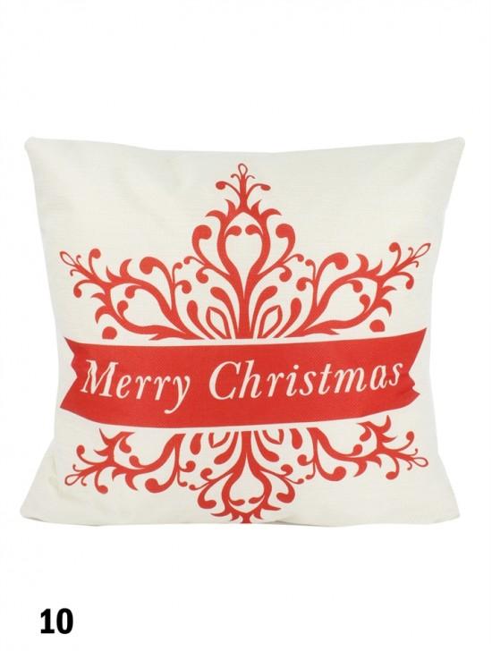 Merry Christmas Snow Flake Print Cushion W/ Filler