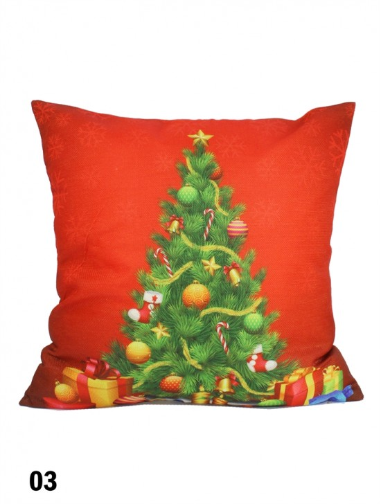 Christmas Tree Print Cushion W/ Filler