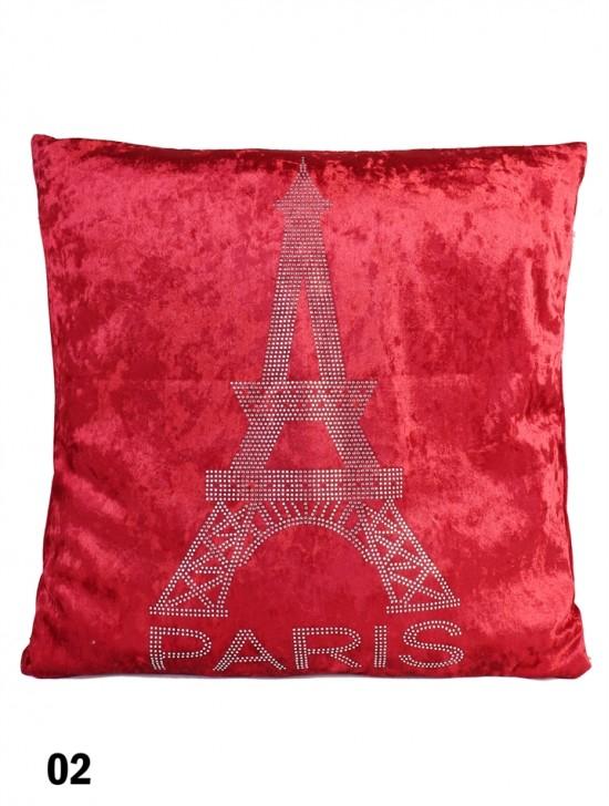 Eiffel Tower Print Velvet Cushion & Filler