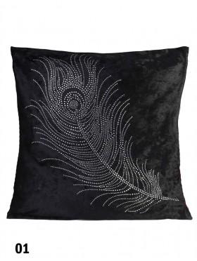 Feather Print Velvet Cushion & Filler
