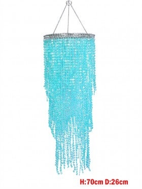 BLUE DRAPE BEAD LAMP SHADE