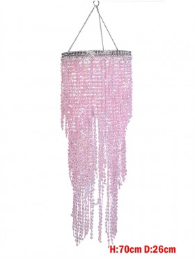 PINK DRAPE BEAD LAMP SHADE