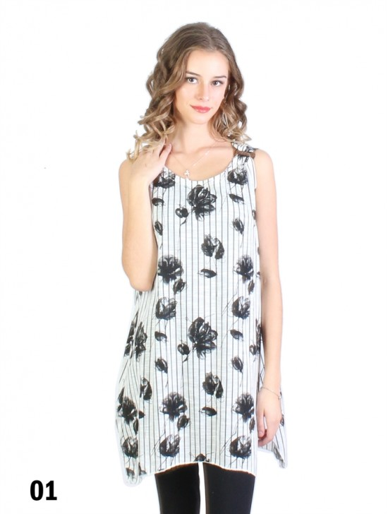 Lily Print Flowy Button Shoulder Tops