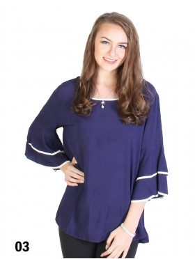 Bell Sleeve & Ring Collar Solid Blouse