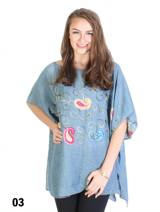 Paisley Embroidery Breathable Top