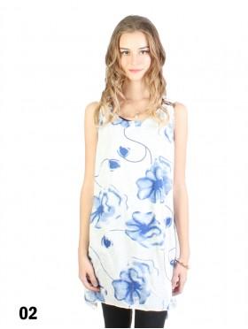Floral & Stem Flowy Button Shoulder Top