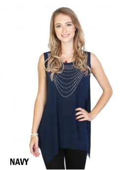 Necklace Rhinestone Chiffon Tops