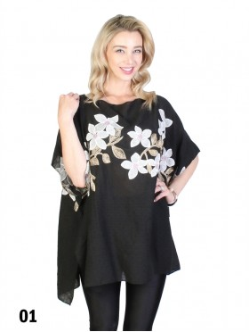 Flower Embroidery Top W/Fine Gold Threads