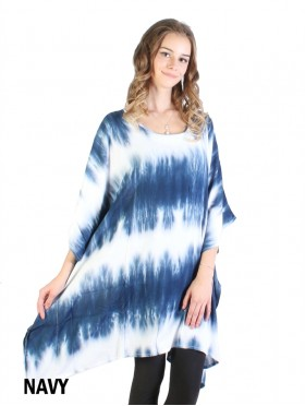 Gradient Short Sleeve Loose Tie-Dye Tunic  Fashion Top